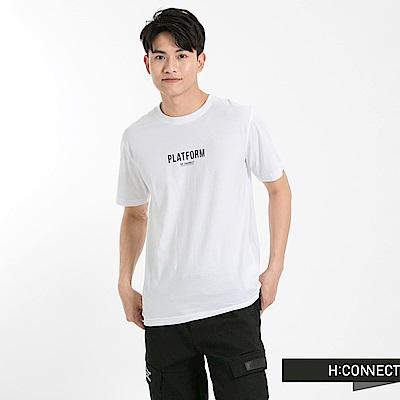 H:CONNECT 韓國品牌 男裝-圓領系列字母T-Shirt-白