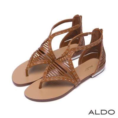 ALDO原色幾何鏤空金屬鉚釘釦夾腳涼鞋~個性駝色