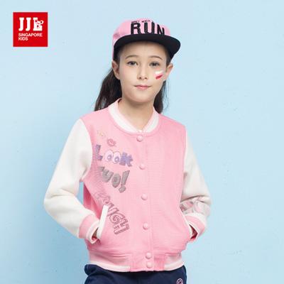 JJLKIDS  街頭女孩網布棒球外套(粉紅)