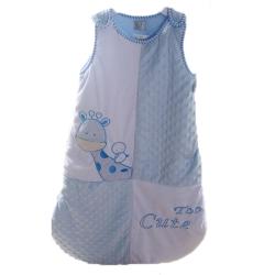長頸鹿雪絨厚鋪棉寶寶防踢睡袋 藍 k23152