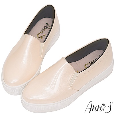 Ann'S進化2.0!亮粉漆皮足弓墊腳顯瘦厚底懶人鞋-米