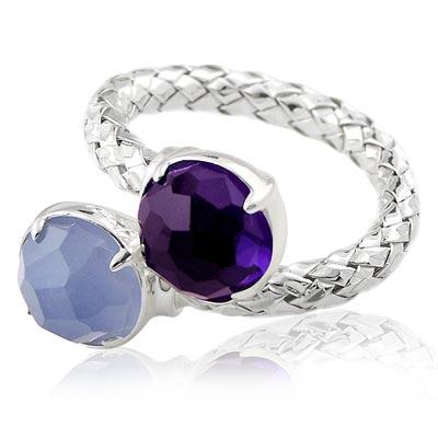 MONT BLANC 萬寶龍 藍紫色寶石編織單圈造型純銀戒指-52號