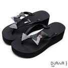 DIANA夏日甜美--水鑽蝴蝶結立體飾片緞面夾腳拖鞋 –黑