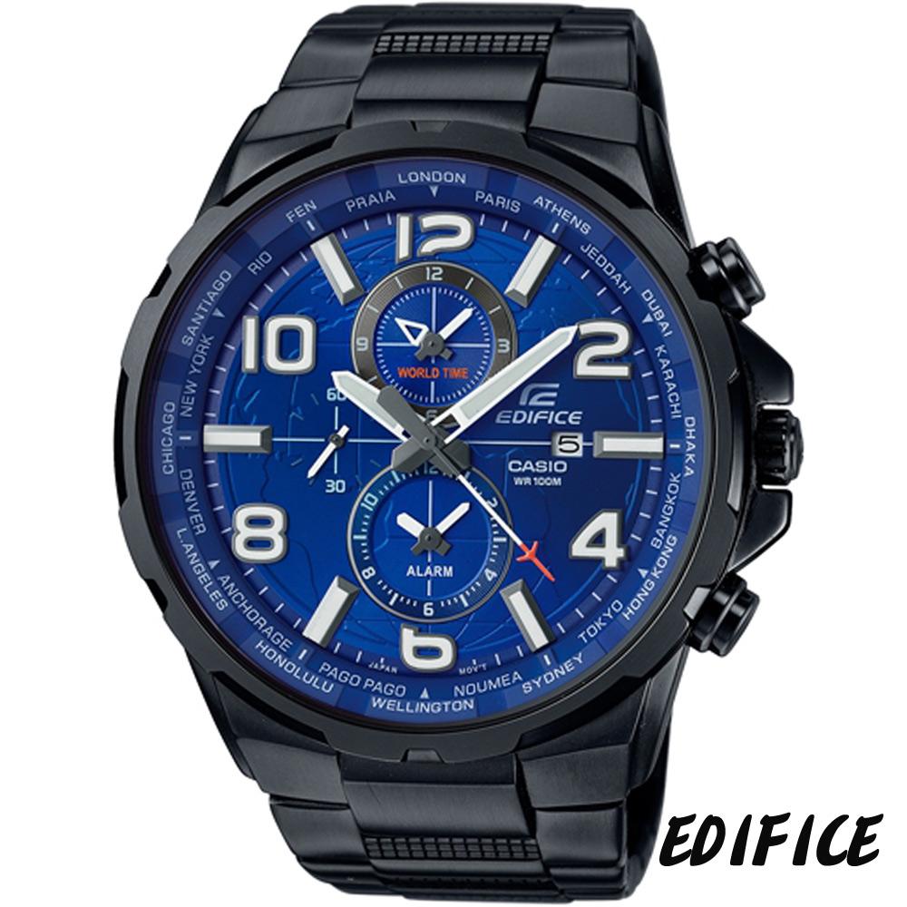 EDIFICE 世界地圖風計時腕錶(EFR-302BK-2A)-黑x藍/50.6mm