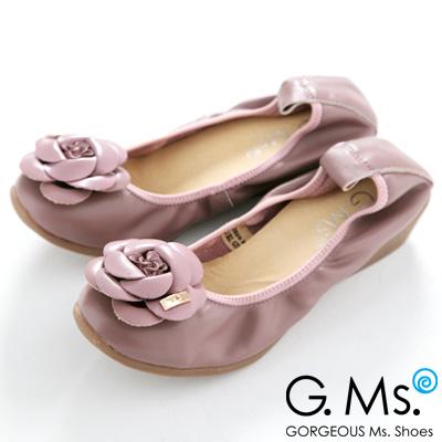 【G.Ms.】經典山茶花‧柔軟彎折厚底坡跟牛皮娃娃鞋‧愛情魔芋