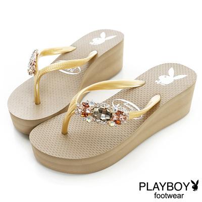 PLAYBOY 奢華日常 水鑽裝飾高台夾腳拖鞋-卡其(女)