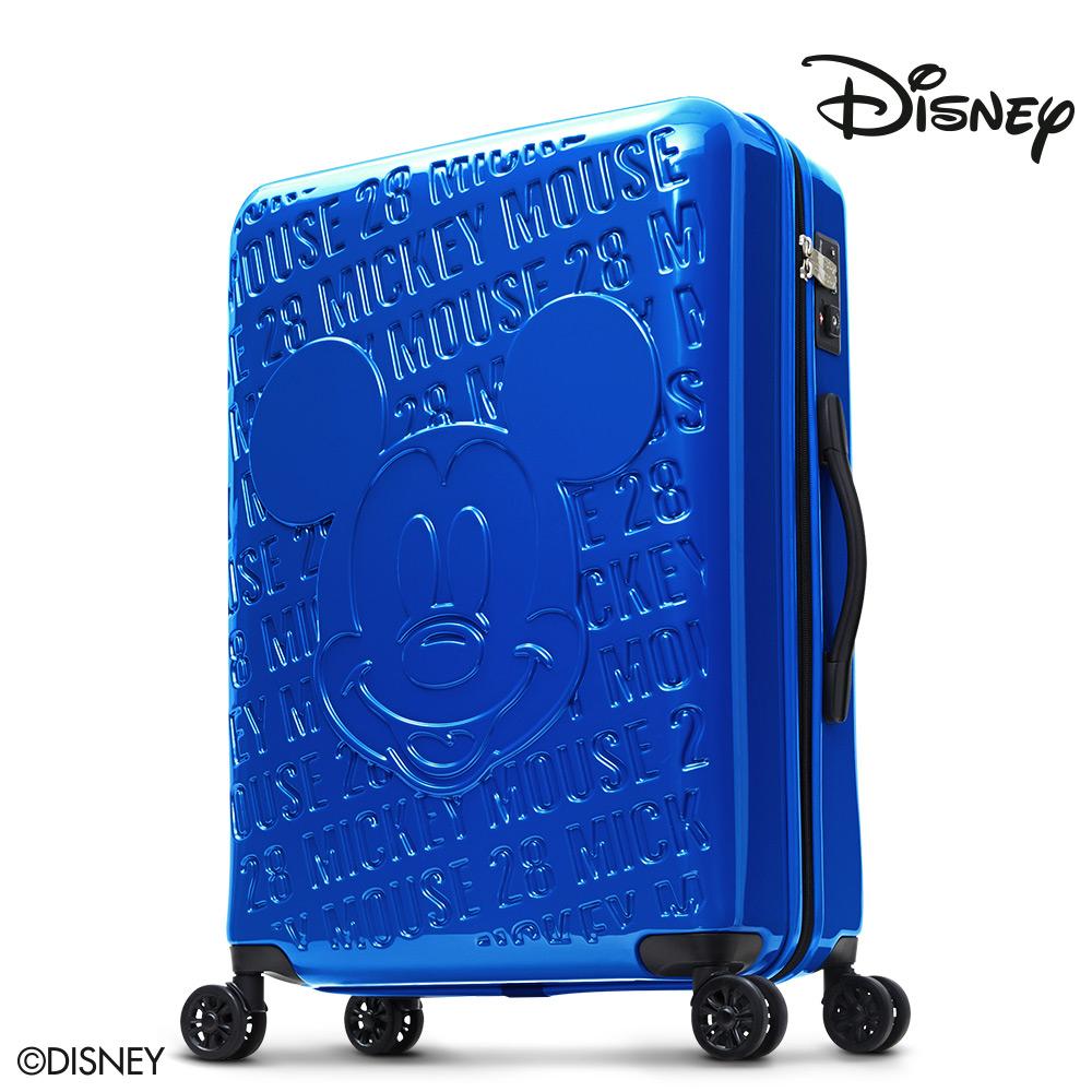 Disney 1928米奇浮雕復刻28吋PC鏡面拉鍊行李箱-孔雀藍