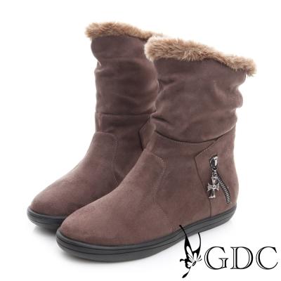 GDC溫暖-兩穿真皮絨布面十字架吊飾毛毛保暖中筒靴-咖啡色