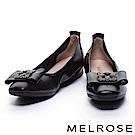 娃娃鞋 MELROSE 奢華鑽飾蝴蝶結超軟Q全真皮娃娃鞋-黑