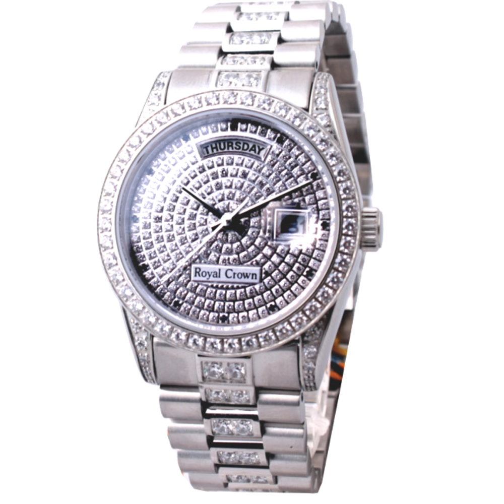 Royal Crown閃耀滿天星鑲晶鑽腕錶-39mm