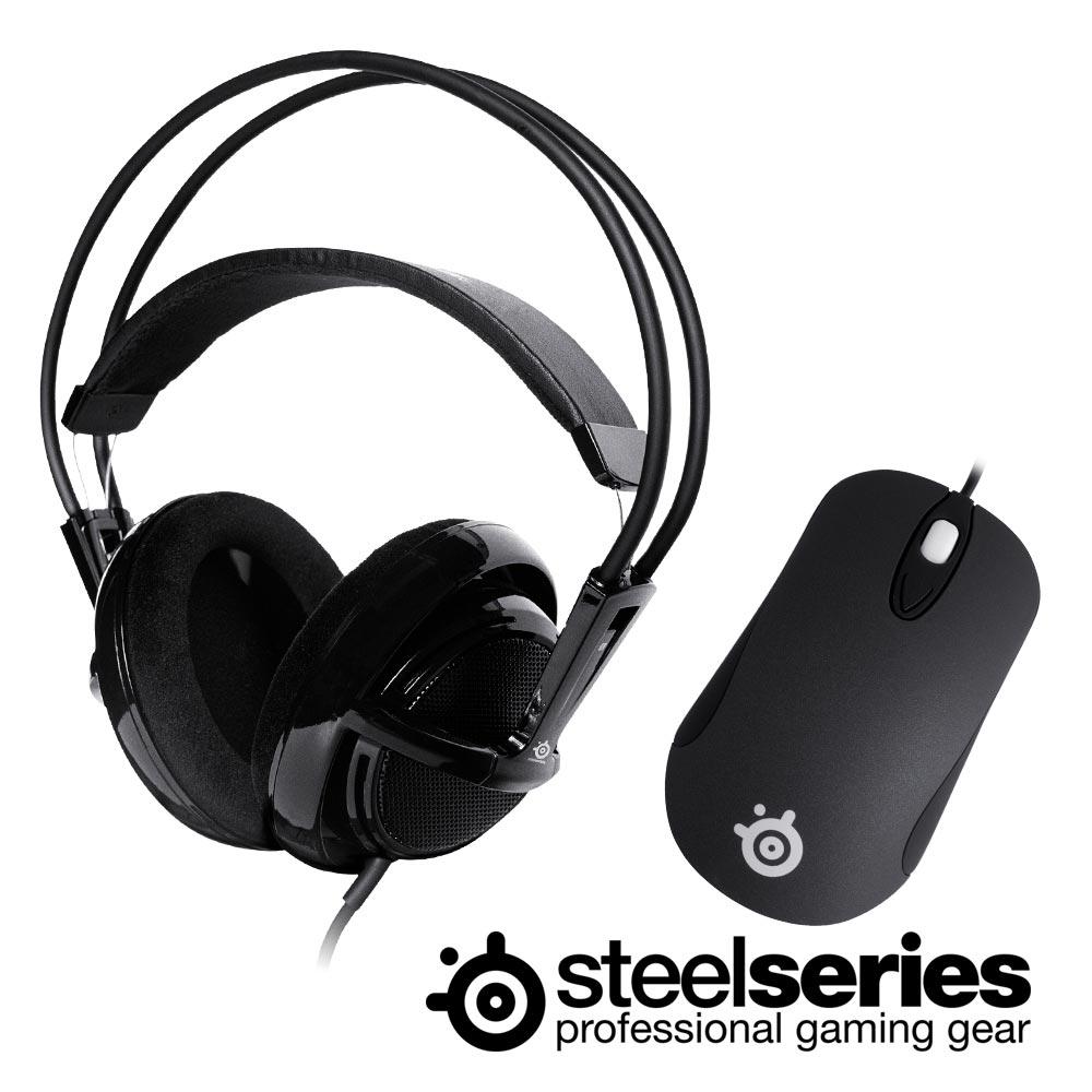 ★SteelSeries Siberia V1 頭戴式耳麥+Kinzu V2滑鼠(寂靜黑)