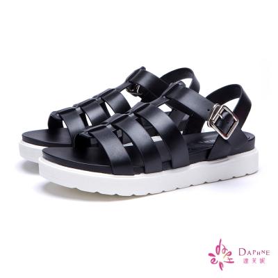 達芙妮DAPHNE-羅馬率性魚骨一字帶彈性平底涼鞋-個性黑8H