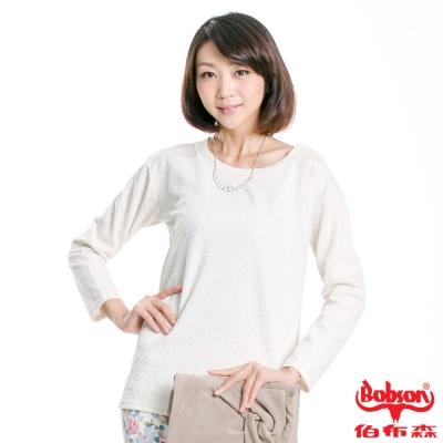 BOBSON 女款雪紡紗緹織布長袖上衣(米白81)