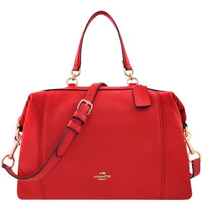 COACH 紅色皮革壓紋波士頓包