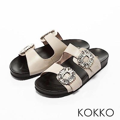 KOKKO-花鑽綿羊皮兩版休閒運動風涼鞋-米白