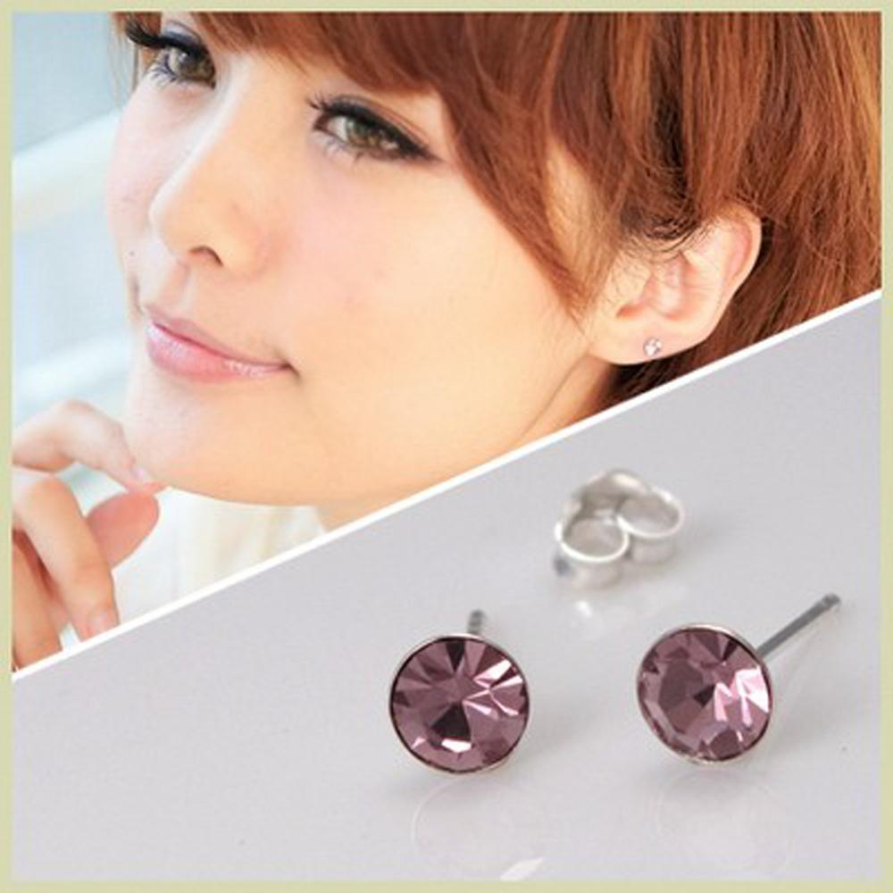 【維克維娜】糖果潮流。透明系紫羅蘭色圓鑽 925純銀耳環