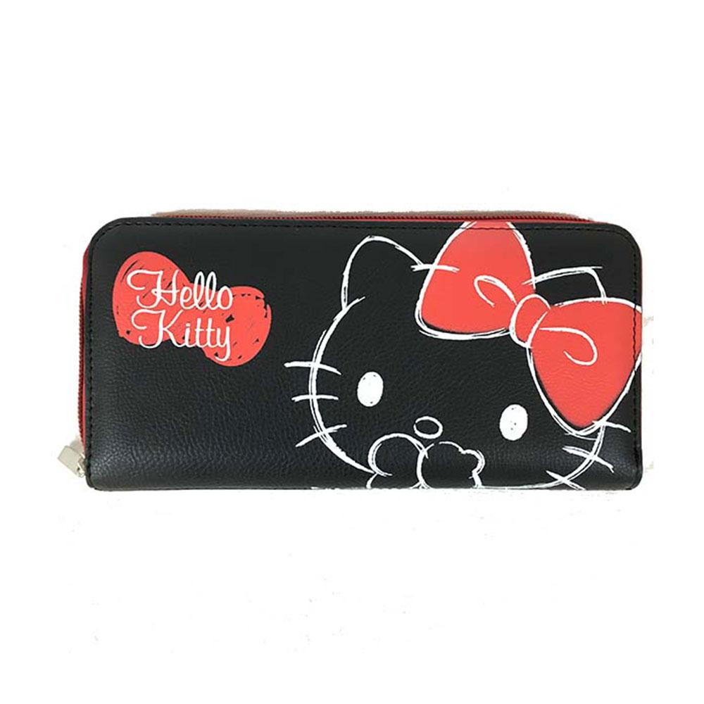 Sanrio HELLO KITTY合成皮革手繪大臉拉鍊長皮夾(黑)