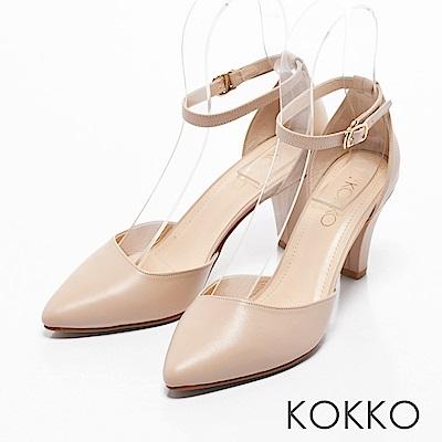 KOKKO -復刻經典尖頭踝帶真皮高跟鞋-好感膚