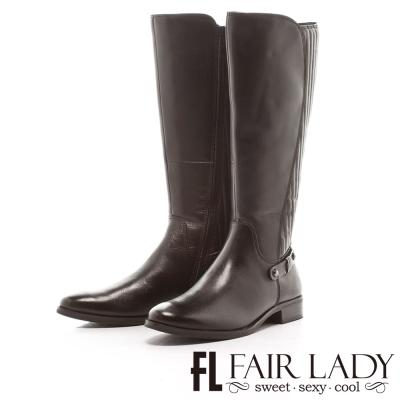 Fair Lady 唯美率性車線條紋長筒靴 黑