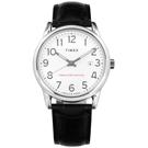 TIMEX 天美時 專利冷光照明 數字時標 日期 壓紋真皮手錶-白x黑/38mm