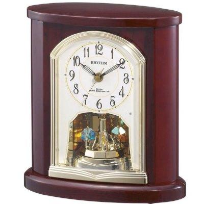 RHYTHM 日本麗聲 實木 電波鐘 座鐘 桌鐘(4RY681SR06)咖啡25X23cm