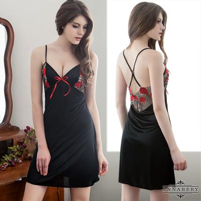 大尺碼-美背刺繡性感黑色睡衣L-2L-Annabe