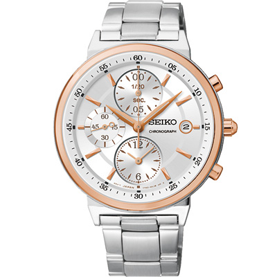 SEIKO 光影微閃三眼計時腕錶(SNDW48P1 )-銀X玫瑰金/36mm