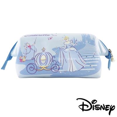 Disney迪士尼皮革施華洛世奇手繪風立體大開口化妝包-公主系列-仙杜瑞拉
