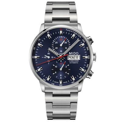 MIDO 美度 Commander 香榭系列60小時計時機械腕錶 藍-43mm