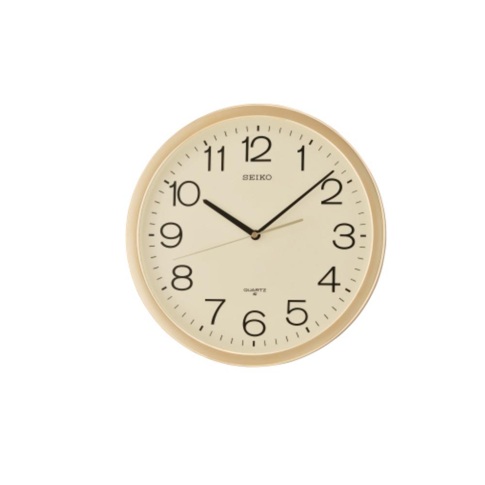 SEIKO 精工 金框 標準型 辦公室掛鐘(QXA020A)-黃/36.1cm