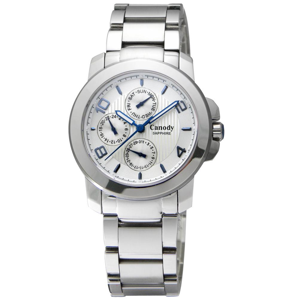Canody 玩色時尚三眼藍寶石鏡面腕錶-白x藍色指針/36mm