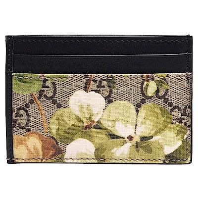 GUCCI Blooms系列花卉X雙G圖紋PVC證照/卡夾(黑)