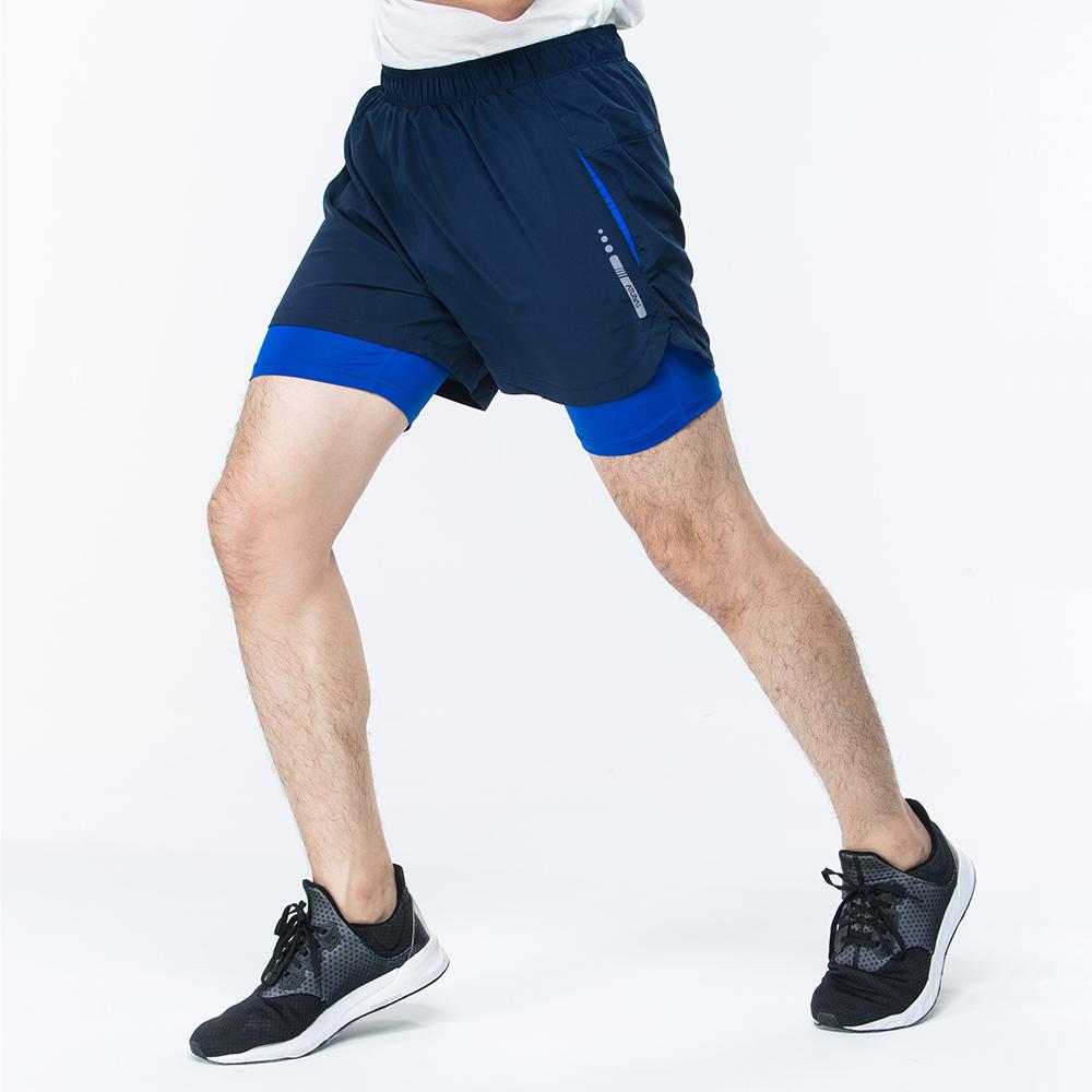 【ATUNAS 歐都納】男款運動假兩件式彈性短跑褲 A1-PA1725M 深藍