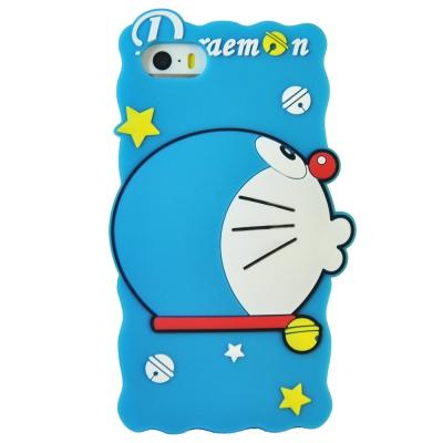 Aztec 哆啦A夢 Apple IPHONE 5/5S/SE 矽膠軟手機殼-嘟...