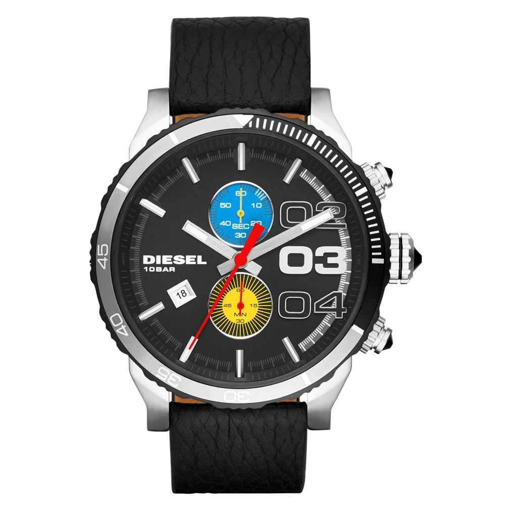 DIESEL 強勢回歸計時皮帶腕錶-黑x藍黃雙眼/50mm