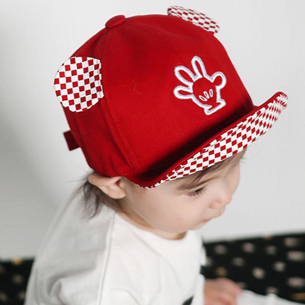 韓版黑白紅格兒童棒球帽