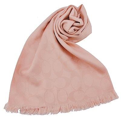 COACH 經典滿版LOGO羊毛混絲針織披肩圍巾(玫瑰粉)