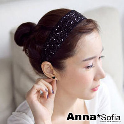 AnnaSofia 魅黑小亮片 韓式髮箍(黑系)