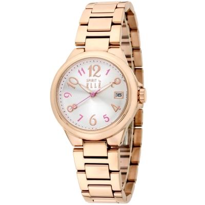 ELLE 優雅甜心不鏽鋼時尚腕錶-玫瑰金-33mm