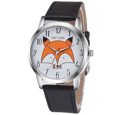 Watch-123 狐狸表白-時光中的童趣學生時尚手錶-黑色/37mm