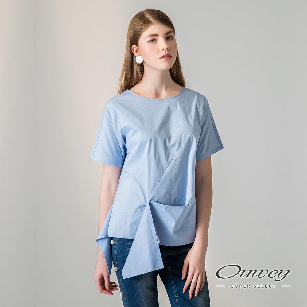 OUWEY歐薇 時尚剪裁棉質連袖上衣(藍)-動態show