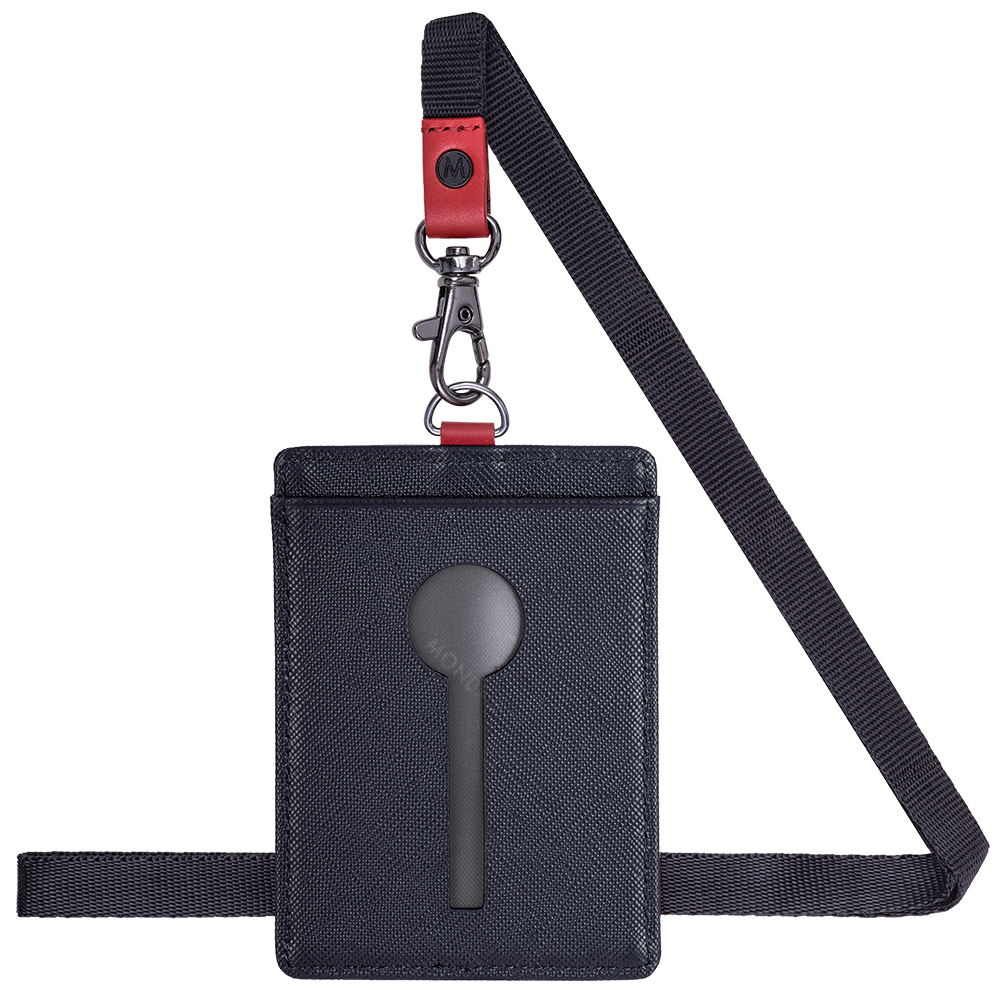 MONDAINE 瑞士國鐵直式鏤空牛皮證件套-十字紋黑