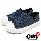 Ollie韓國空運-正韓製復古刷色水洗帆布奶油頭休閒鞋-深藍