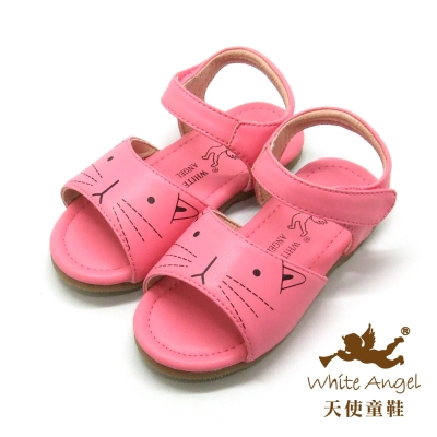 天使童鞋-F5045可愛貓咪涼鞋小童-俏麗桃