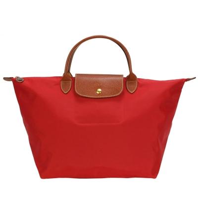 Longchamp 折疊中型短把水餃包-紅色