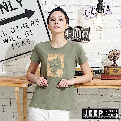JEEP女裝 轉印圖騰圓領短袖T恤-綠色