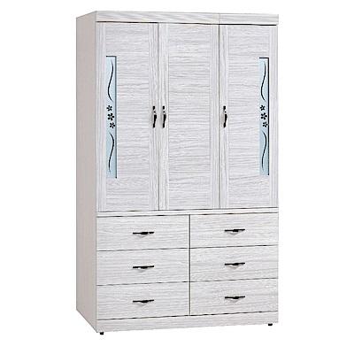 品家居 喬莉4尺雪衫木紋三門六抽衣櫃-119.7x57.5x197cm免組