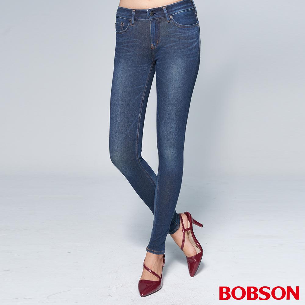 """BOBSON 女款1971""""日本黑標""""針織深藍窄管褲"""