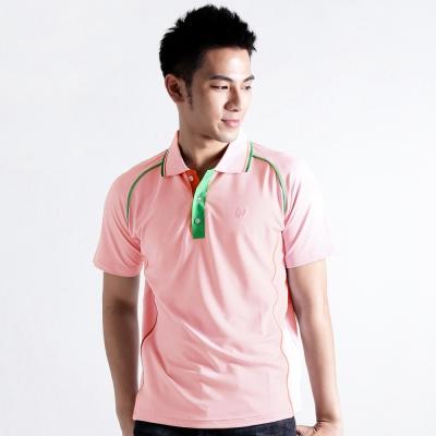 【遊遍天下】MIT男款抗UV涼爽吸濕排汗機能POLO衫S083粉紅