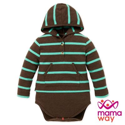 Mamaway Baby連帽開襟橫紋包屁衣(共三色)